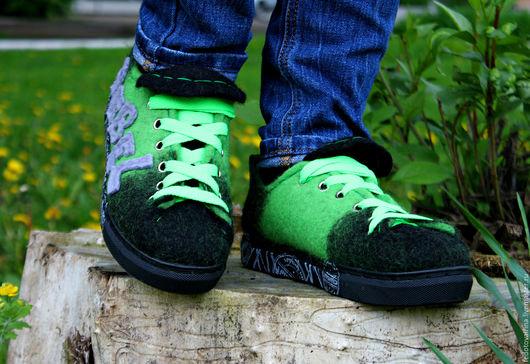 """Обувь ручной работы. Ярмарка Мастеров - ручная работа. Купить Кеды валяные """"Rebel"""".. Handmade. Зеленый, войлок, дизайнерская обувь"""