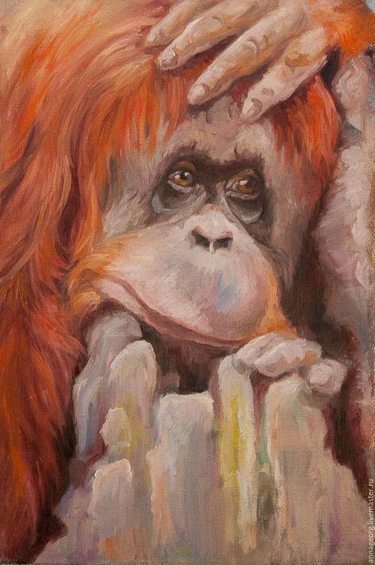 Животные ручной работы. Ярмарка Мастеров - ручная работа. Купить Задумчивый (год обезьяны). Handmade. Комбинированный, обезьяна, орангутанг
