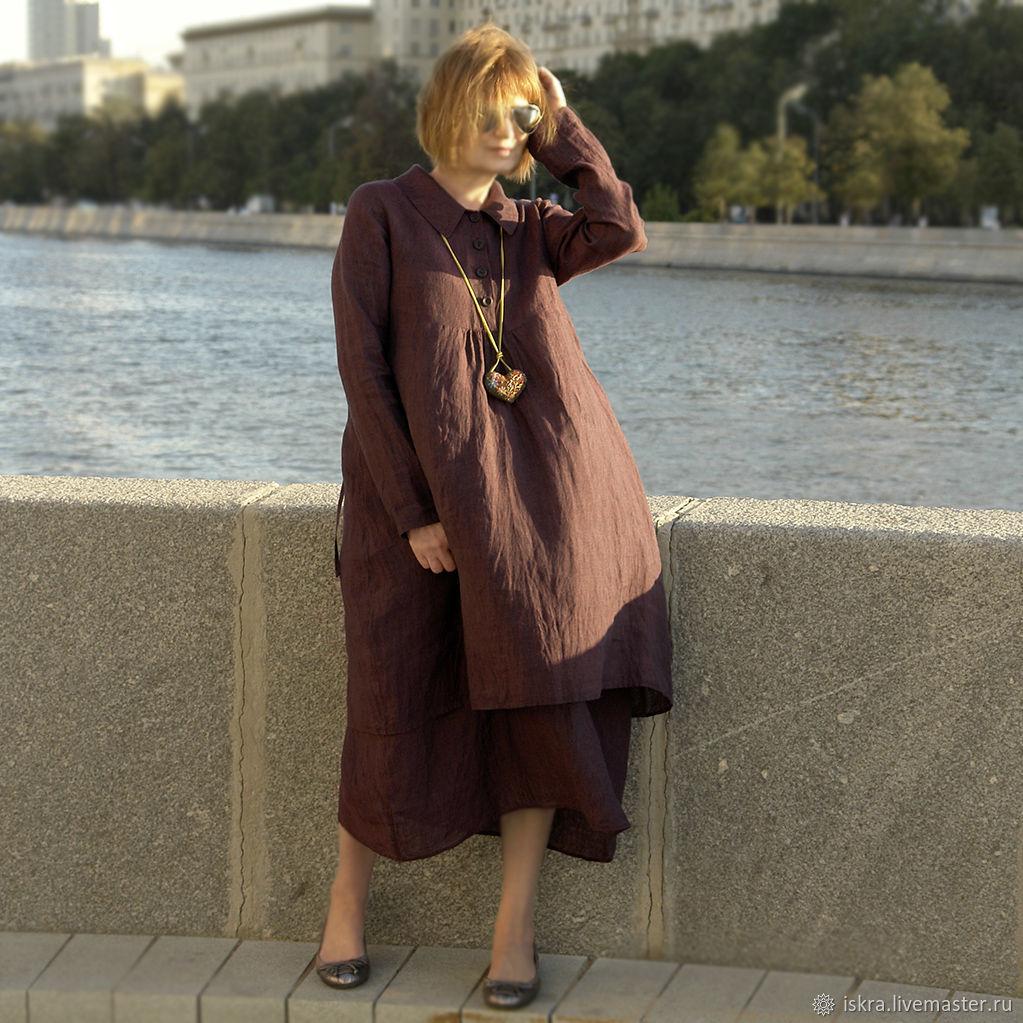 Платье Лен Бордо, Платья, Москва,  Фото №1