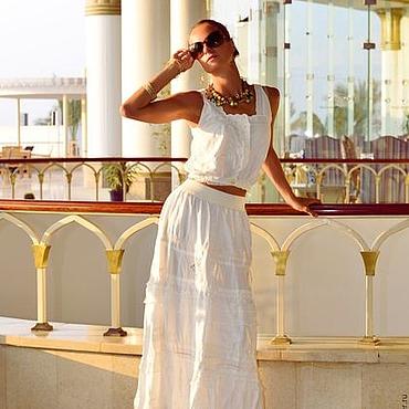 Одежда ручной работы. Ярмарка Мастеров - ручная работа Длинная белая юбка бохо Avenue. Handmade.