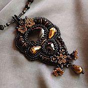 Украшения ручной работы. Ярмарка Мастеров - ручная работа Кулон с черным ониксом вышитый бисером. Handmade.