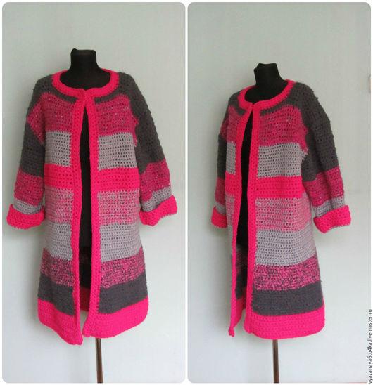 """Верхняя одежда ручной работы. Ярмарка Мастеров - ручная работа. Купить Пальто вязанное """" Фуксия с серым """". Handmade."""