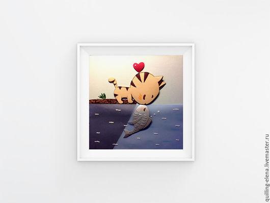 """Подарки для влюбленных ручной работы. Ярмарка Мастеров - ручная работа. Купить Картина - панно """"Киска и рыбка"""". Handmade. Голубой, бумага"""