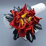 Украшения ручной работы. Ярмарка Мастеров - ручная работа Ободок  ЛЕТО, цветок из натуральной кожи и  полудрагоценных камней. Handmade.