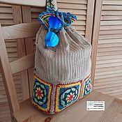 Сумки и аксессуары handmade. Livemaster - original item Backpacks: Corduroy with Granny squares. Handmade.