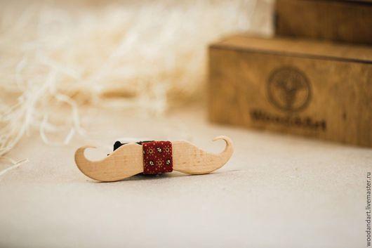Галстуки, бабочки ручной работы. Ярмарка Мастеров - ручная работа. Купить Деревянная галстук- бабочка. Усы.. Handmade. Бордовый, подарок