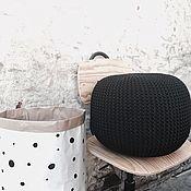 Для дома и интерьера ручной работы. Ярмарка Мастеров - ручная работа Пуфик вязаный чёрный. Handmade.