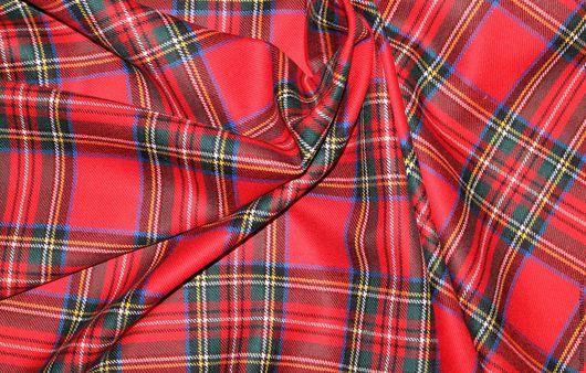 Шитье ручной работы. Ярмарка Мастеров - ручная работа. Купить костюмная шерсть в клетку  италия. Handmade. Ярко-красный, ткань