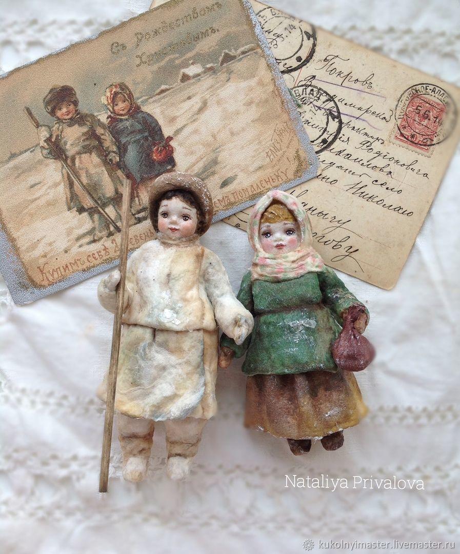 Ватные ёлочные игрушки, Ванюша и Маруся, 12 и 10 см, Куклы, Тобольск, Фото №1