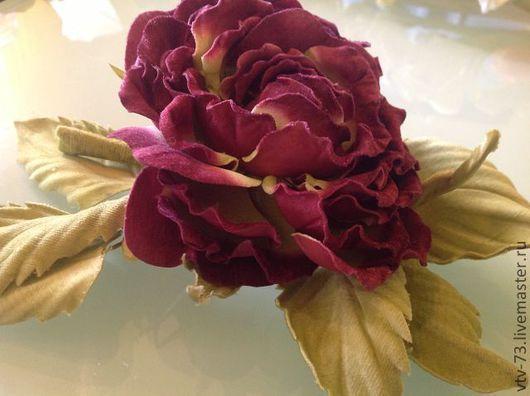 """Цветы ручной работы. Ярмарка Мастеров - ручная работа. Купить Брошь из натурального шелка. """"Розовый бархат"""". Handmade. Шарм и шарм"""