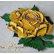Украшения ручной работы. Ярмарка Мастеров - ручная работа Украшение из кожи.Брошь  роза желтая Жанет. Handmade.