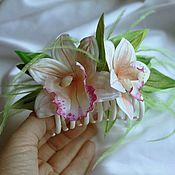 Украшения ручной работы. Ярмарка Мастеров - ручная работа кремовые орхидеи на крабе из ткани. Handmade.
