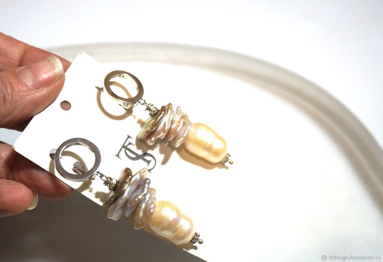 """Серьги из натурального жемчуга """"Пагода 2"""", Серьги классические, Москва,  Фото №1"""
