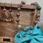 Браслет из бусин ручной работы. Ярмарка Мастеров - ручная работа Колье, два браслета и серёжки. Handmade.