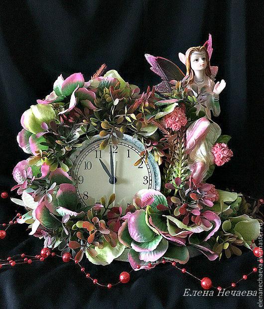 """Часы для дома ручной работы. Ярмарка Мастеров - ручная работа. Купить Интерьерные часы """"Осенний сад"""" декоративные часы. Handmade."""