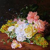 Картины и панно ручной работы. Ярмарка Мастеров - ручная работа Картина маслом. Розы и виноград. Handmade.
