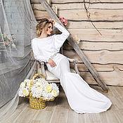 Свадебный салон ручной работы. Ярмарка Мастеров - ручная работа Свадебное платье со съемным поясом. Кьяра. Handmade.