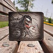 Сумки и аксессуары handmade. Livemaster - original item Venom-men`s Wallet made of genuine leather, marvel, bifold Wallet. Handmade.