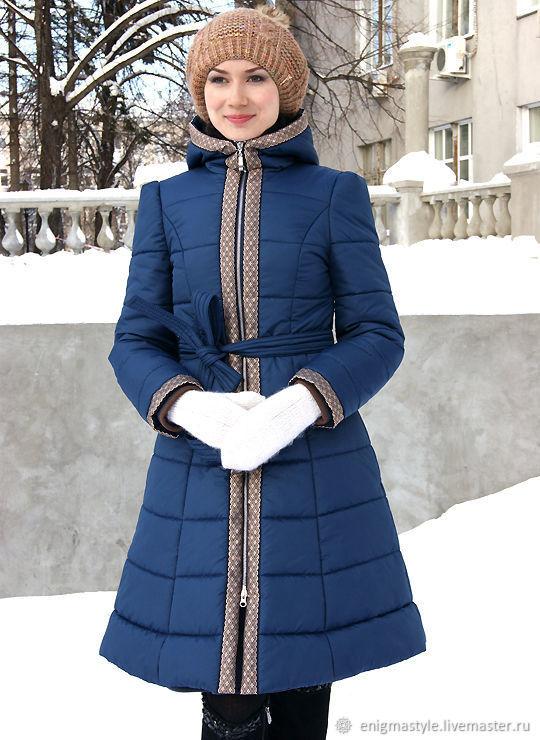 Dark blue hooded coat, winter warm coat, quilted zip-up coat, Down jackets, Novosibirsk,  Фото №1