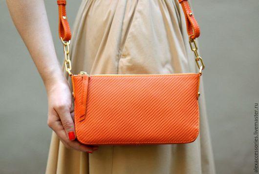 Женские сумки ручной работы. Ярмарка Мастеров - ручная работа. Купить Оранжевая кожаная сумка Trudy. Handmade. Сумка