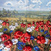 Картины и панно ручной работы. Ярмарка Мастеров - ручная работа картина вышивка лентами Полюшко-поле. Handmade.