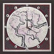 """Для дома и интерьера ручной работы. Ярмарка Мастеров - ручная работа """"ВОСТОЧНЫЙ МОТИВ в красном"""" из песка авторские часы. Handmade."""