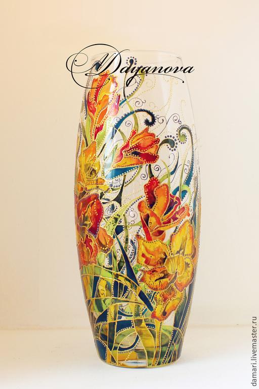 Вазы ручной работы. Ярмарка Мастеров - ручная работа. Купить Цветы и травы. Handmade. Разноцветный, Витражная роспись