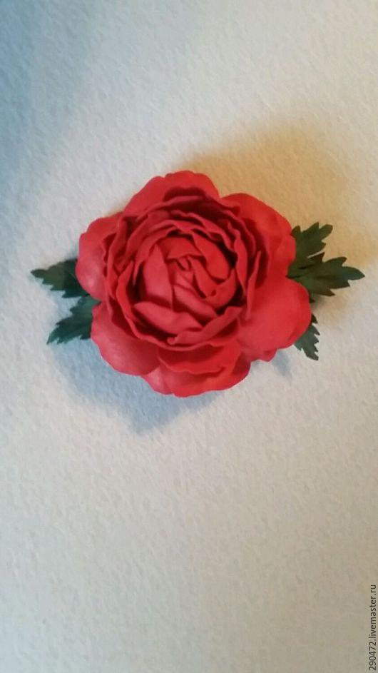 """Броши ручной работы. Ярмарка Мастеров - ручная работа. Купить Брошь заколка """"Алая роза"""". Handmade. Брошь цветок, для девушки"""