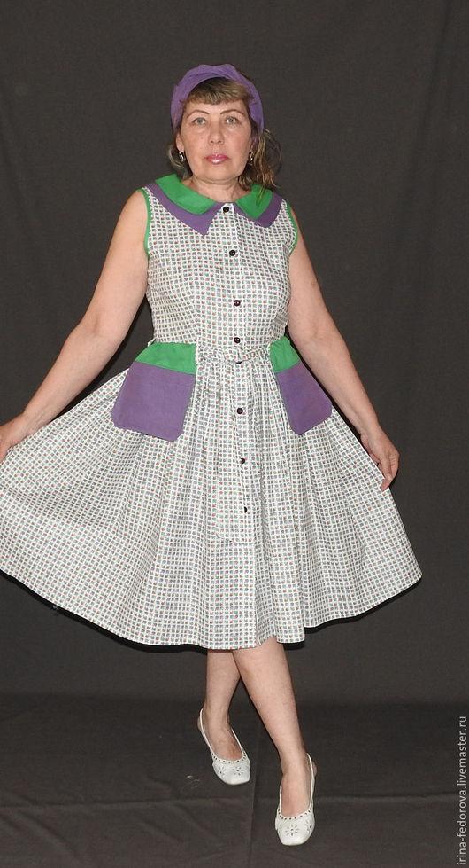 Платья ручной работы. Ярмарка Мастеров - ручная работа. Купить Платье из хлопка П - 125.. Handmade. Комбинированный, платье на отпуск