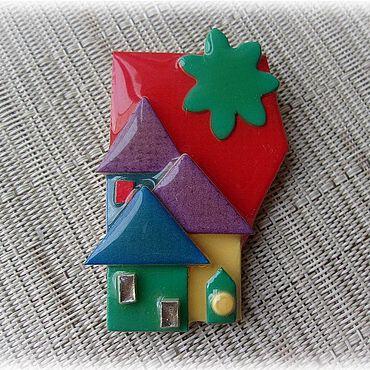 """Винтаж ручной работы. Ярмарка Мастеров - ручная работа LUCINDA Брошь """"Разноцветные домики"""". Handmade."""
