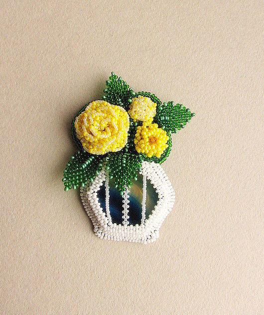 """Броши ручной работы. Ярмарка Мастеров - ручная работа. Купить Брошь """"Розы"""". Handmade. Бисер, желтые розы, бисер"""