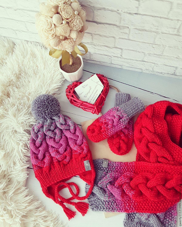 Сохранено с m-optima.ru комплекты вязаных шарфов, шапок, варежек.