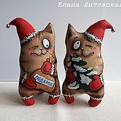 Куклы и игрушки ручной работы. Ярмарка Мастеров - ручная работа Новогодний кофейный кот, стоячий. Handmade.