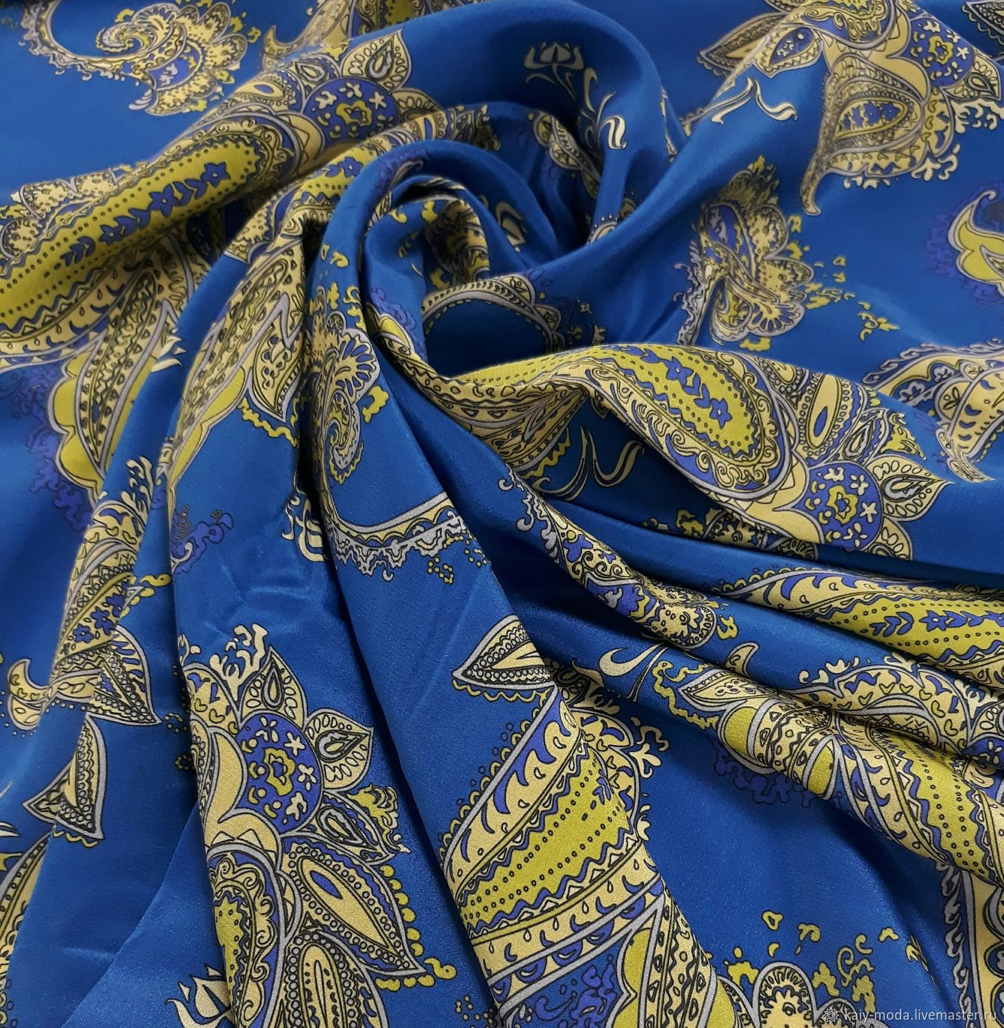 Etro-Paisley crepe silk on ultra blue, Fabric, Moscow,  Фото №1