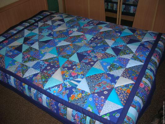 Текстиль, ковры ручной работы. Ярмарка Мастеров - ручная работа. Купить Лоскутное покрывало Голубая синева. Handmade. Синий, хлопок