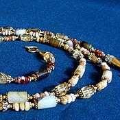 Украшения ручной работы. Ярмарка Мастеров - ручная работа Длинное элегантное ожерелье из агатов, опалов и цитринов. Handmade.