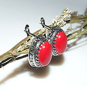Украшения handmade. Livemaster - original item earrings maria coral, 925 sterling silver. Handmade.