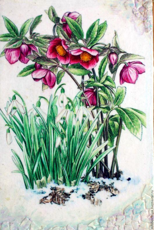 """Картины цветов ручной работы. Ярмарка Мастеров - ручная работа. Купить Панно """"Морозник"""". Handmade. Комбинированный, панно для интерьера, Морозник"""