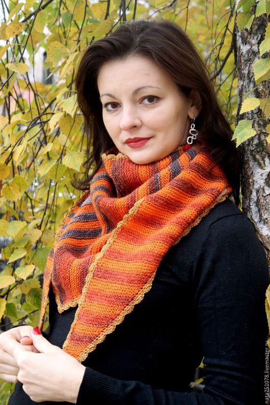 """Шали, палантины ручной работы. Ярмарка Мастеров - ручная работа. Купить Шаль-платок """"Апельсиновая"""". Handmade. Рыжий, платок, зима"""