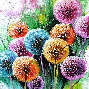 Картины и панно ручной работы. Ярмарка Мастеров - ручная работа Картина с цветами Акварель одуванчики. Handmade.
