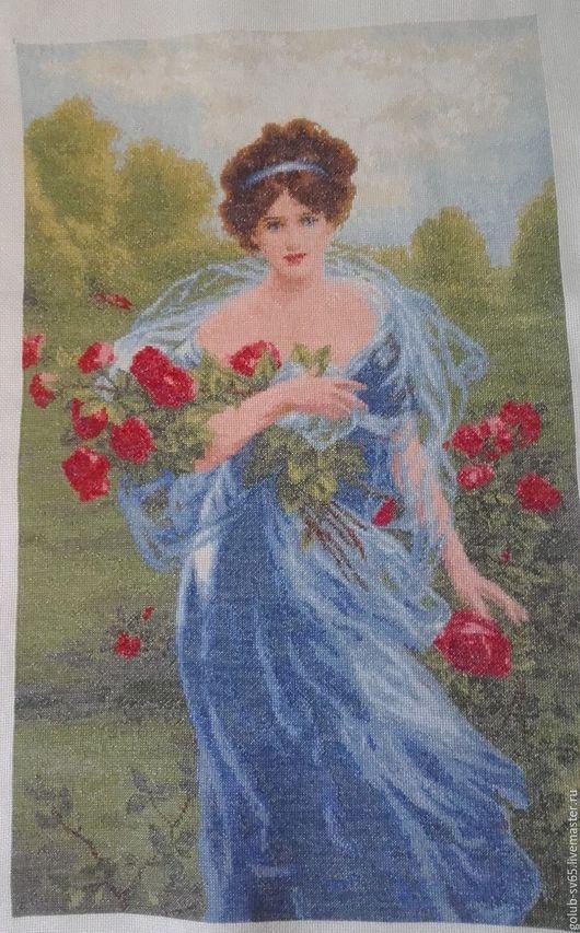 Люди, ручной работы. Ярмарка Мастеров - ручная работа. Купить Девушка с розами. Handmade. Голубой, букет, лепестки роз