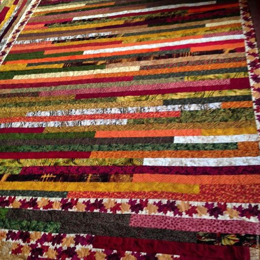 """Текстиль, ковры ручной работы. Ярмарка Мастеров - ручная работа. Купить Стеганое лоскутное покрывало""""Багряная осень"""". Handmade. Покрывало на кровать"""