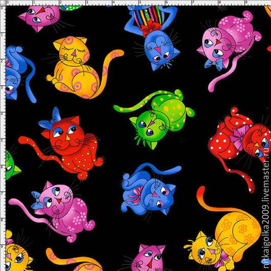 Шитье ручной работы. Ярмарка Мастеров - ручная работа. Купить Ткань для пэчворка  TOSSED COOL CATS PANEL. Handmade. Ткань
