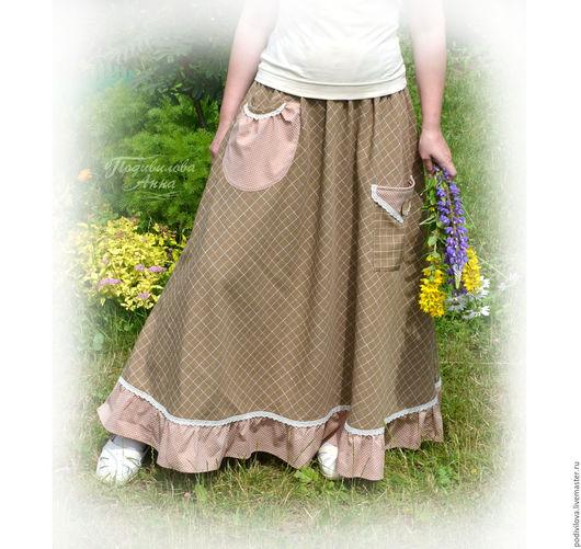 """Юбки ручной работы. Ярмарка Мастеров - ручная работа. Купить Юбка бохо  """"Модный стиль"""",с карманами,длинная,в пол,весенняя,летняя. Handmade."""