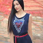 Одежда handmade. Livemaster - original item Blue knitted jumpsuit with embroidery