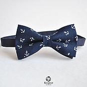 Аксессуары handmade. Livemaster - original item Dark blue tie necktie Anchors / party, wedding in a marine style. Handmade.