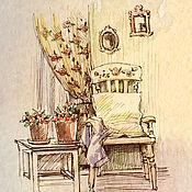 Дизайн и реклама ручной работы. Ярмарка Мастеров - ручная работа Интерьеры, зарисовки, акварель. Handmade.