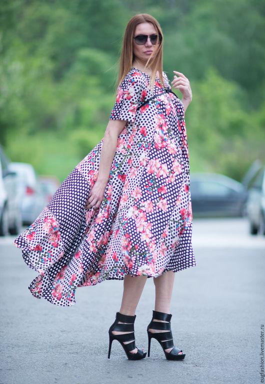 Цветочное платье в горошек. Платье. Длинное платье. Летнее платье. Платье. Ярмарка Мастеров. Ручная работа. Цветочное платье. Платье в горошек.