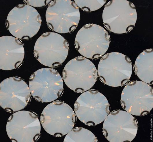 Для украшений ручной работы. Ярмарка Мастеров - ручная работа. Купить Риволи 14 мм в оправе опаловый. Handmade. Белый
