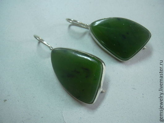 Earrings handmade. Livemaster - handmade. Buy Original earrings in JADE,silver 925..Dark green, jade for jewelry